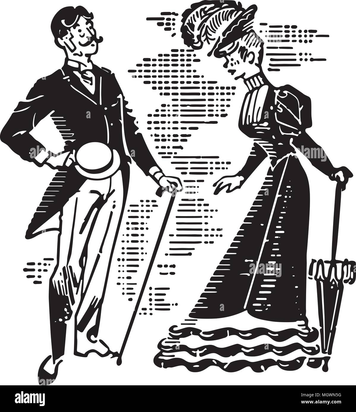 hight resolution of victorian couple courting retro clipart illustration