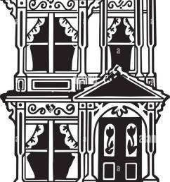 victorian row house retro clipart illustration [ 755 x 1390 Pixel ]