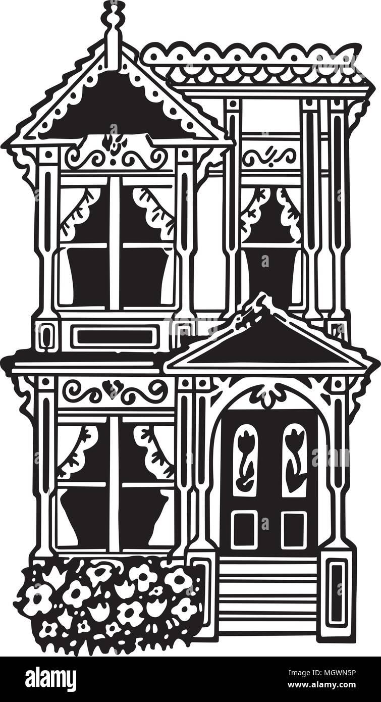 hight resolution of victorian row house retro clipart illustration