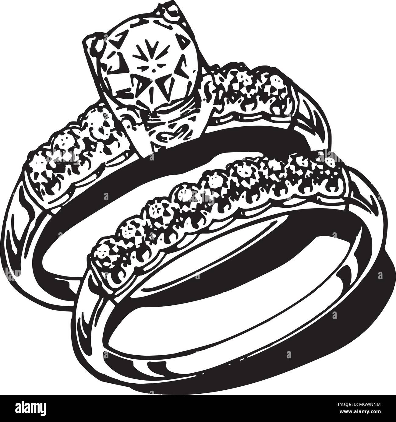 hight resolution of wedding rings retro clipart illustration