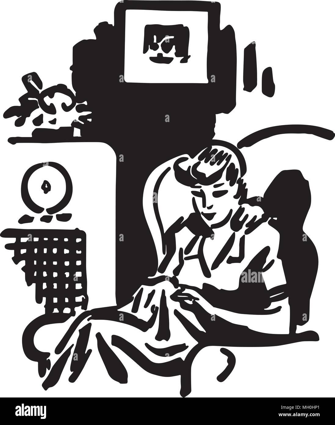 hight resolution of woman listening to radio show retro clipart illustration