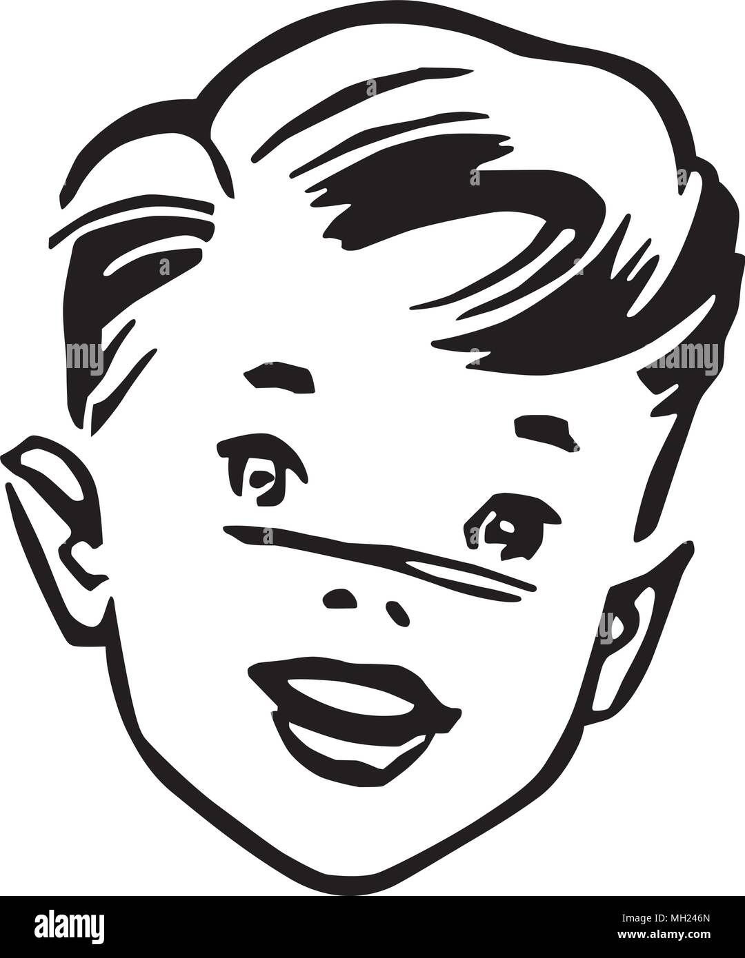 hight resolution of young boy retro clipart illustration