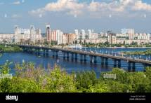 View Of Paton Bridge And Left Bank Dnieper River In