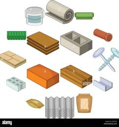 building material icons set cartoon style stock vector [ 1300 x 1328 Pixel ]