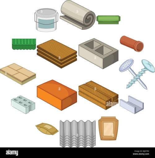 small resolution of building material icons set cartoon style stock vector
