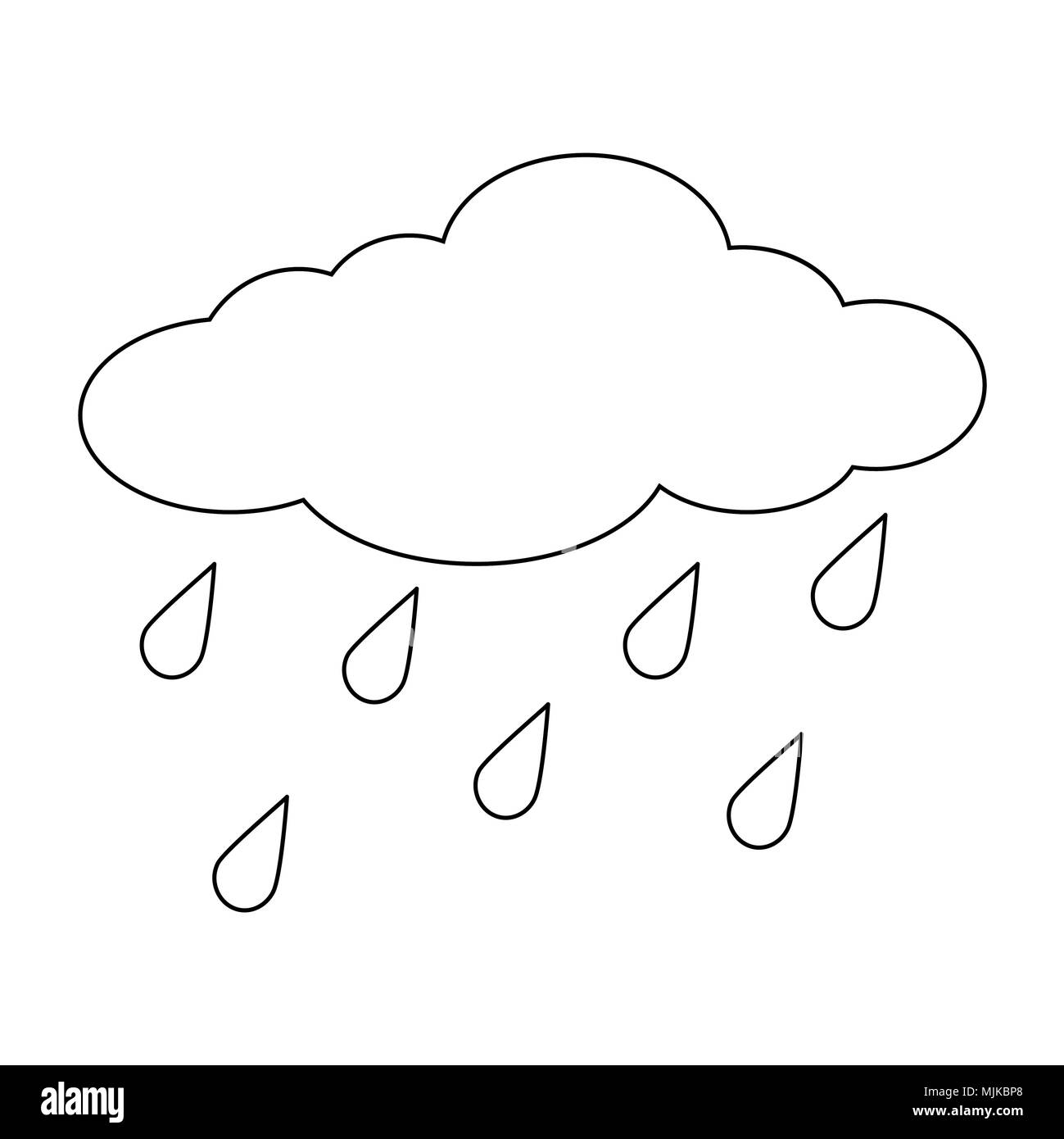 Cartoon Cloud With Rain Drops Outline Isolated On White