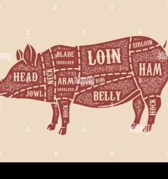 pig butcher diagram pork cuts design element for poster card emblem badge vector image [ 1300 x 956 Pixel ]
