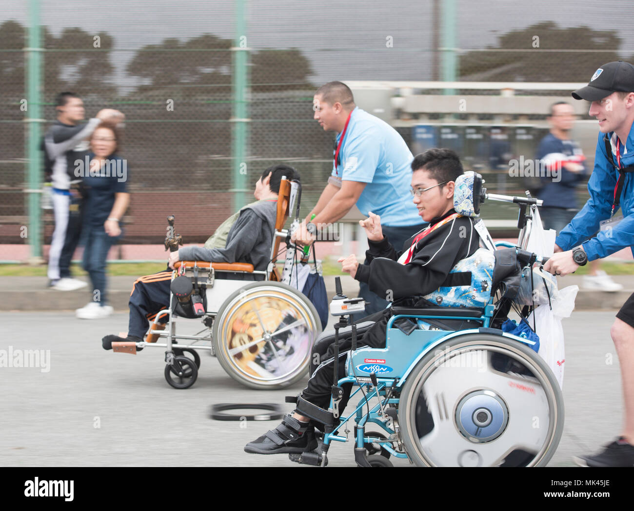 wheelchair olympics aluminum outdoor chairs kadena special athletes and their brave buddy volunteers race for first place in the dash event nov 4 2017 at air base japan