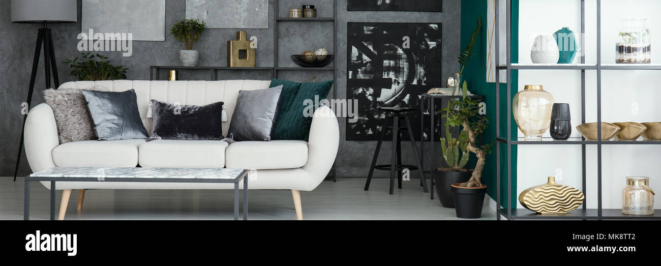 living room decorative pillows design a online light grey sofa with placed in industrial interior textured wall and decor