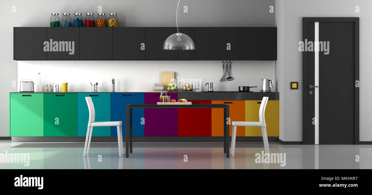 Modern Kitchen Chairs Colorful Modern Kitchen With Dining Table And Chairs 3d
