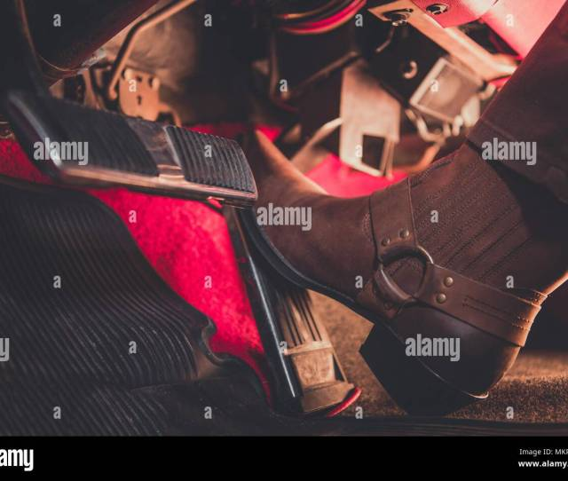 Cowboy Pushing The Accelerator Using Cowboy Boot Wild West Pedal To The Metal Theme Classic Car Automatic Transmission Drive