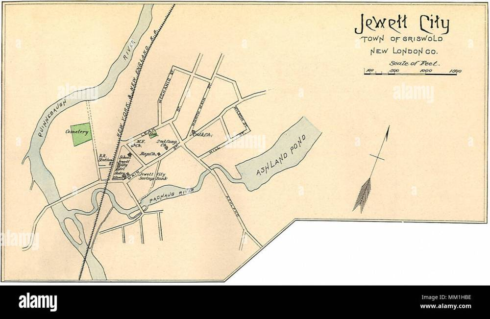 medium resolution of map of jewett city in town of griswold 1893 stock image