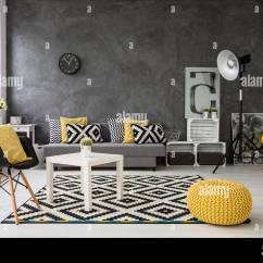 Living Room Standing Lamp With Leather Couch Ideas Spacious Grey Sofa Chairs Small Coffee Table Decorations In Yellow Black And White