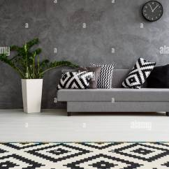 Grey Sofa Living Room Carpet Black White And Gold Ideas Spacious Decorated In Minimalist Style Wooden Floor Pattern