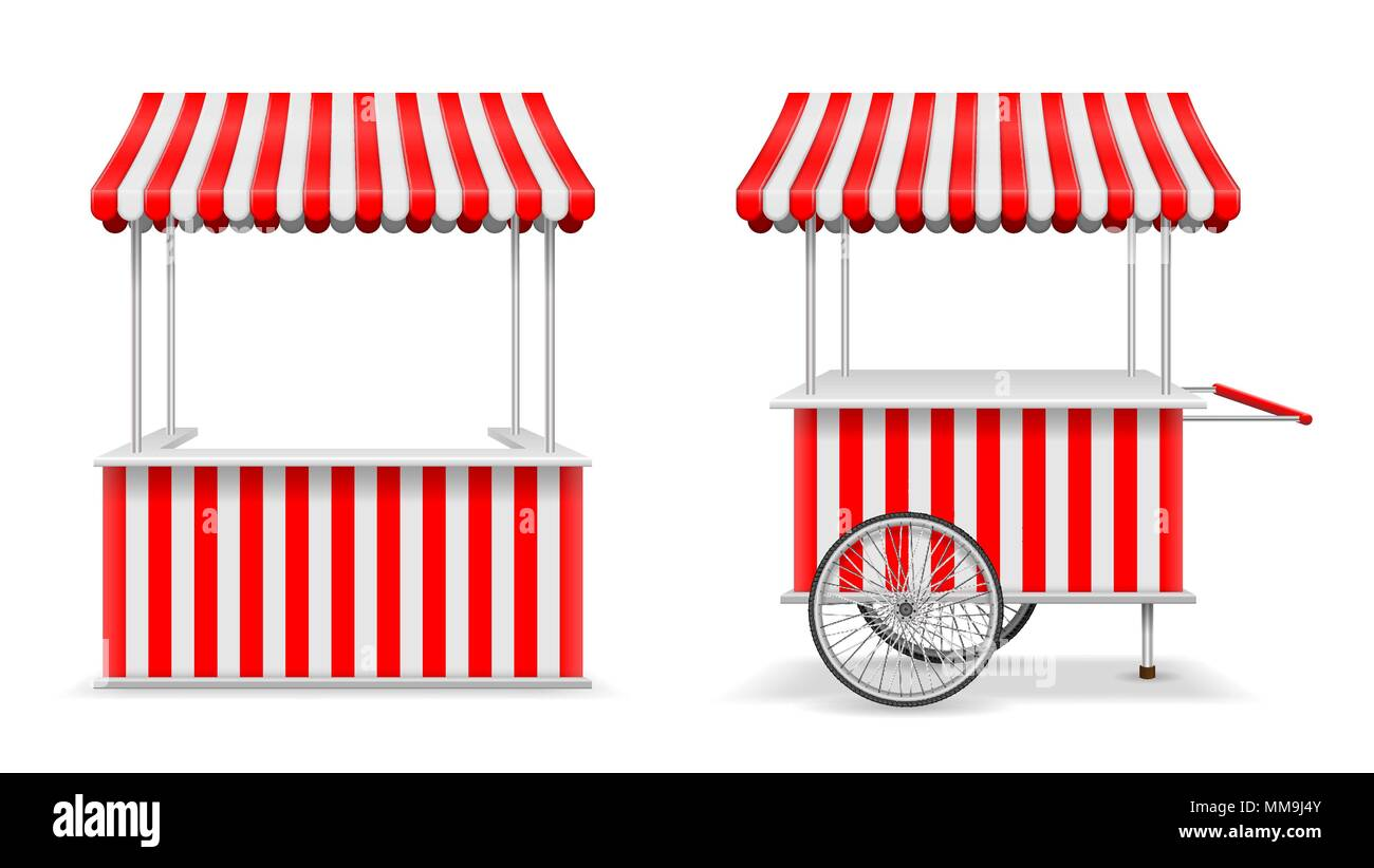 One psd mockup allowing you to showcase your outdoor advertisement. Realistic Set Of Street Food Kiosk And Cart With Wheels Mobile Red Market Stall Template Farmer Kiosk Shop Mockup Vector Illustration Stock Vector Image Art Alamy