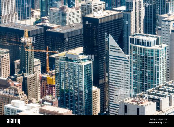 Chicago Aerial View Willis Tower Stock