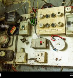 old electrical distribution board with electric meter fuse box fuse board and electric switches [ 1300 x 1083 Pixel ]