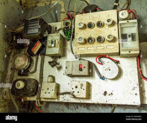 small resolution of old electrical distribution board with electric meter fuse box fuse board and electric switches