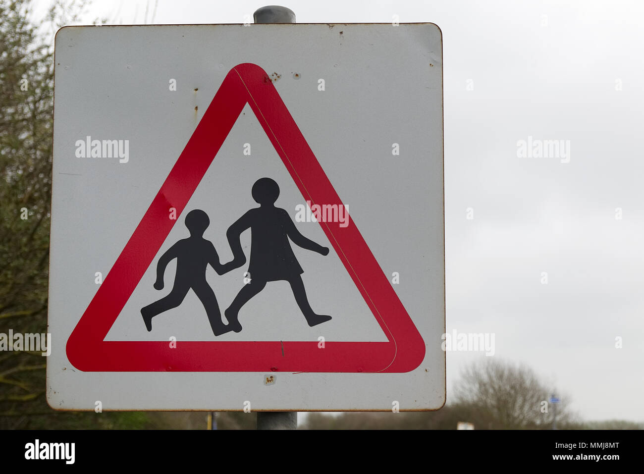 Beware Children Crossing Road Sign High Resolution Stock