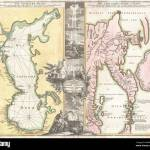 English One Of Homann S Most Interesting And Influential Maps This 1725 Map Depicts The Caspian Sea And The Peninsula Of Kamchatka Essentially Two Maps In One Homann Here Juxtaposes Two Opposite