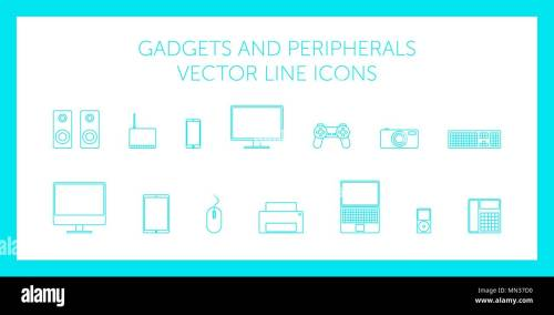 small resolution of schematic computer technology monitor laptop speakers mouse keyboard modem joystick camera printer phone on white background