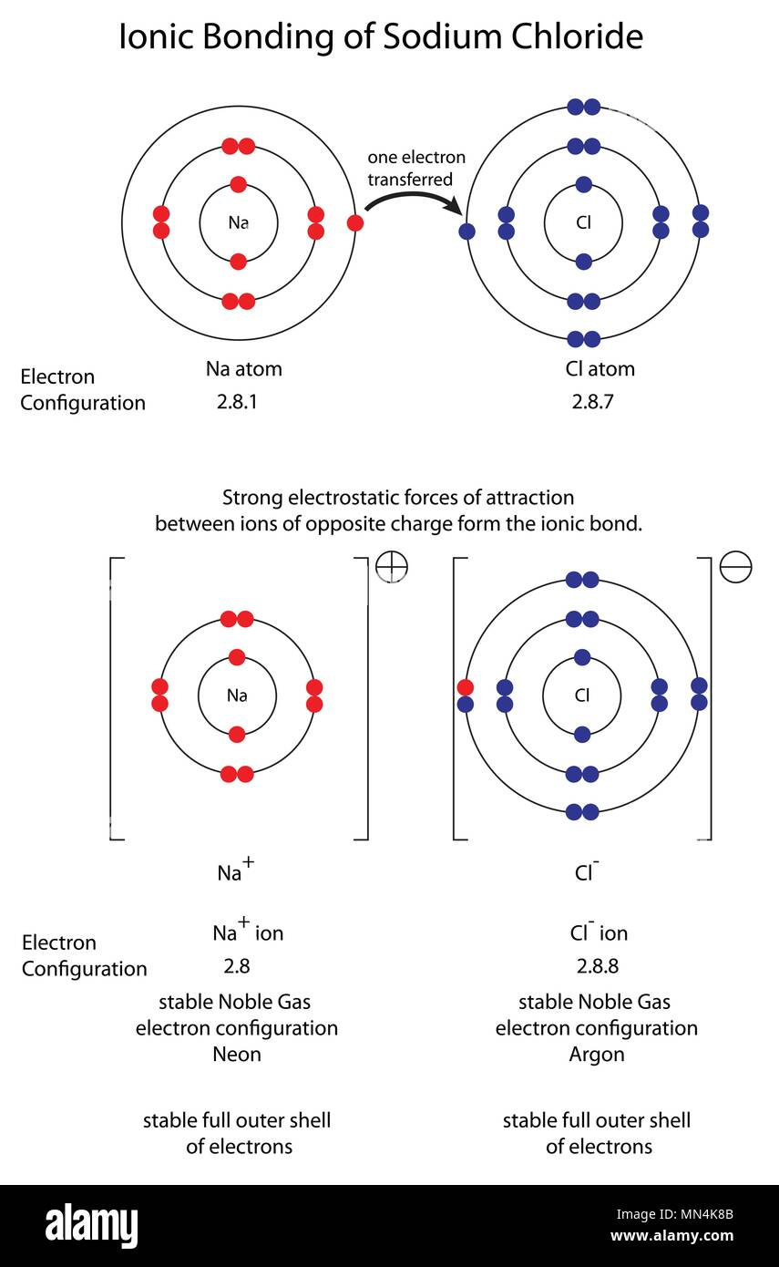 hight resolution of diagram to show ionic bonding in sodium chloride stock image