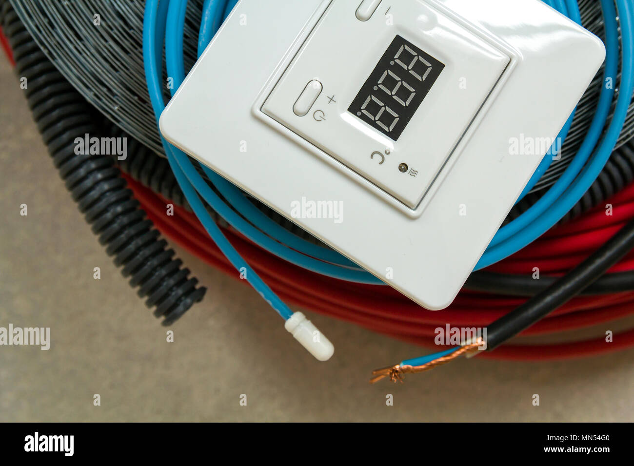 hight resolution of heating floor system wires cables and control panel renovation and construction concept comfort house