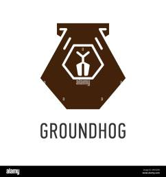 brown head of groundhog in trapezoid vector greeting card on groundhog day stock vector [ 1300 x 1390 Pixel ]