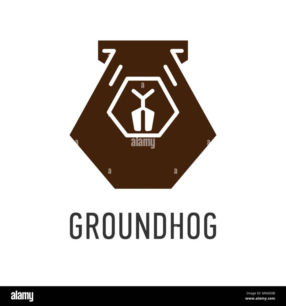 medium resolution of brown head of groundhog in trapezoid vector greeting card on groundhog day stock vector