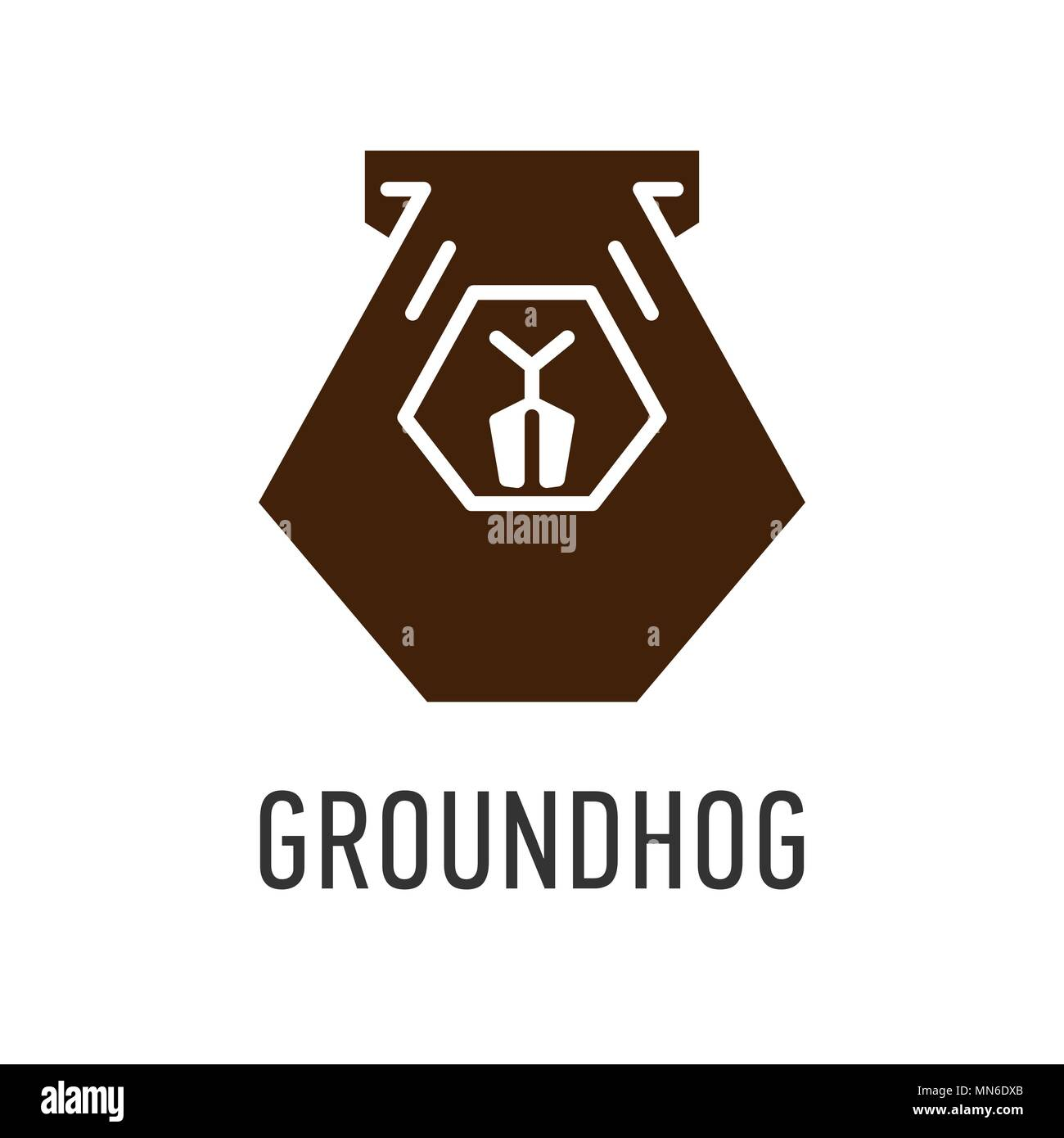 hight resolution of brown head of groundhog in trapezoid vector greeting card on groundhog day stock vector