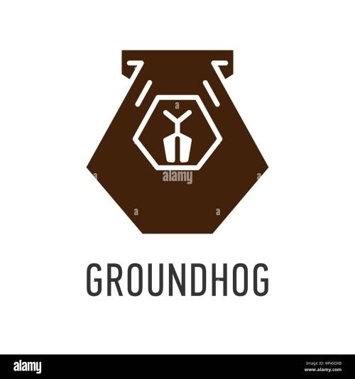 small resolution of brown head of groundhog in trapezoid vector greeting card on groundhog day stock vector