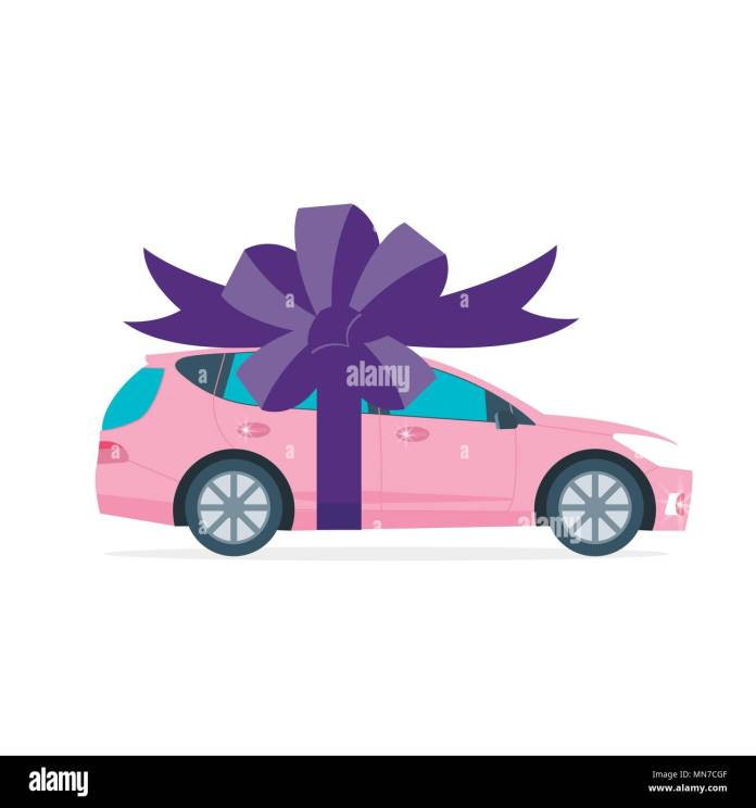 poster with pink machine and ribbon. car gift concept or