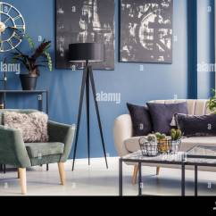 Green Cushions Living Room Simple Wooden Furniture Designs For Elegant Decorative On A Beige Sofa And Modern Mint Armchair In Blue Interior