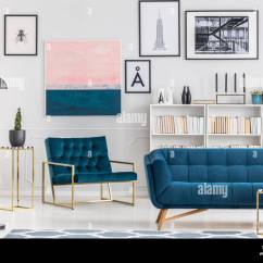 Navy Blue Couches Living Room What Colour Curtains In Grey Sofa Against Bookshelf And White Wall With Pink Painting Elegant Interior