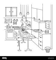 Hand drawn of cute interior kitchen for design element and ...