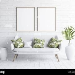 White Sofa Living Room Decor Decorating Ideas With Brown Sofas Mock Up Frames In Interior On Brick Wall Scandinavian Style 3d Render