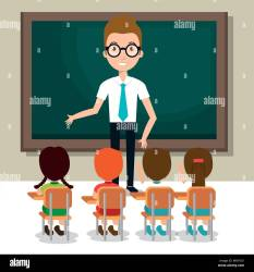 man teacher with students in the classroom Stock Vector Image & Art Alamy