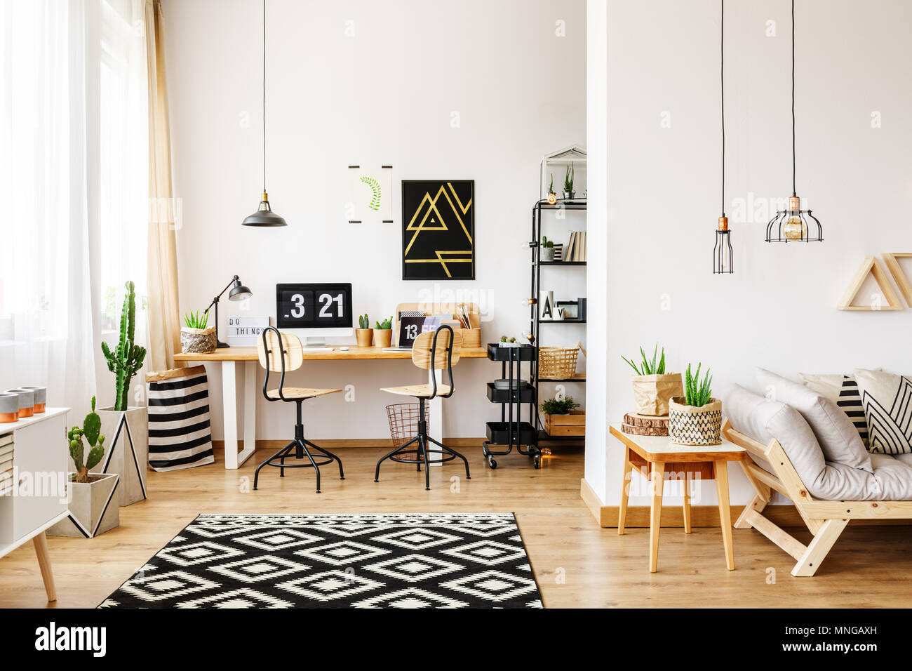 scandinavian living room furniture open plan kitchen design ideas stock photos contemporary in style with office interior desk poster retro chairs and
