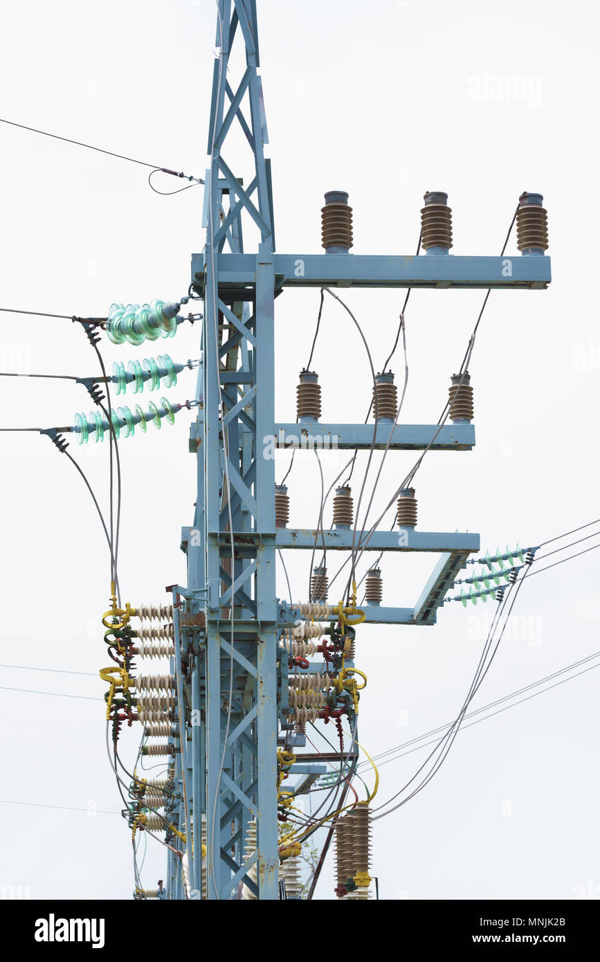 hight resolution of electric pole on a white background garland of insulators on electric wires of high voltage support