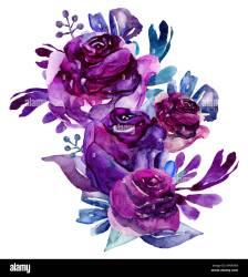 purple clip flowers floral watercolor bouquet alamy