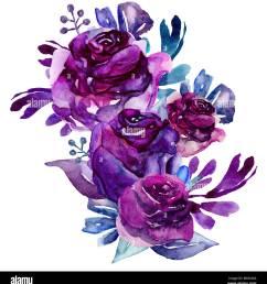 watercolor purple flowers clip art floral bouquet illustration [ 1246 x 1390 Pixel ]