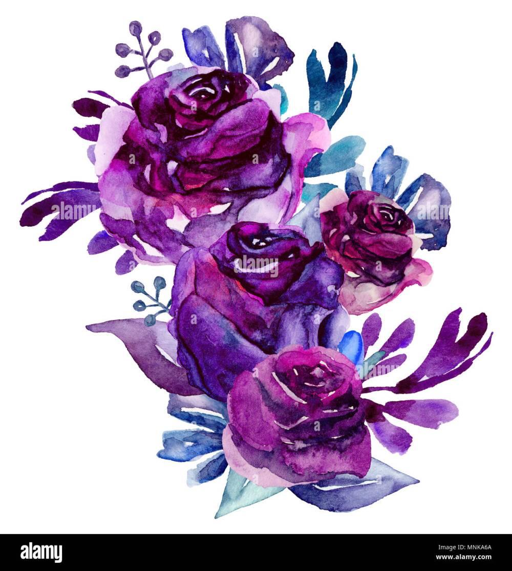 medium resolution of watercolor purple flowers clip art floral bouquet illustration