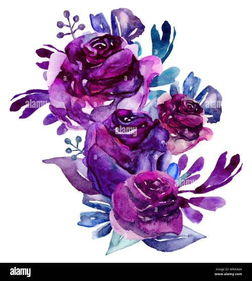 small resolution of watercolor purple flowers clip art floral bouquet illustration