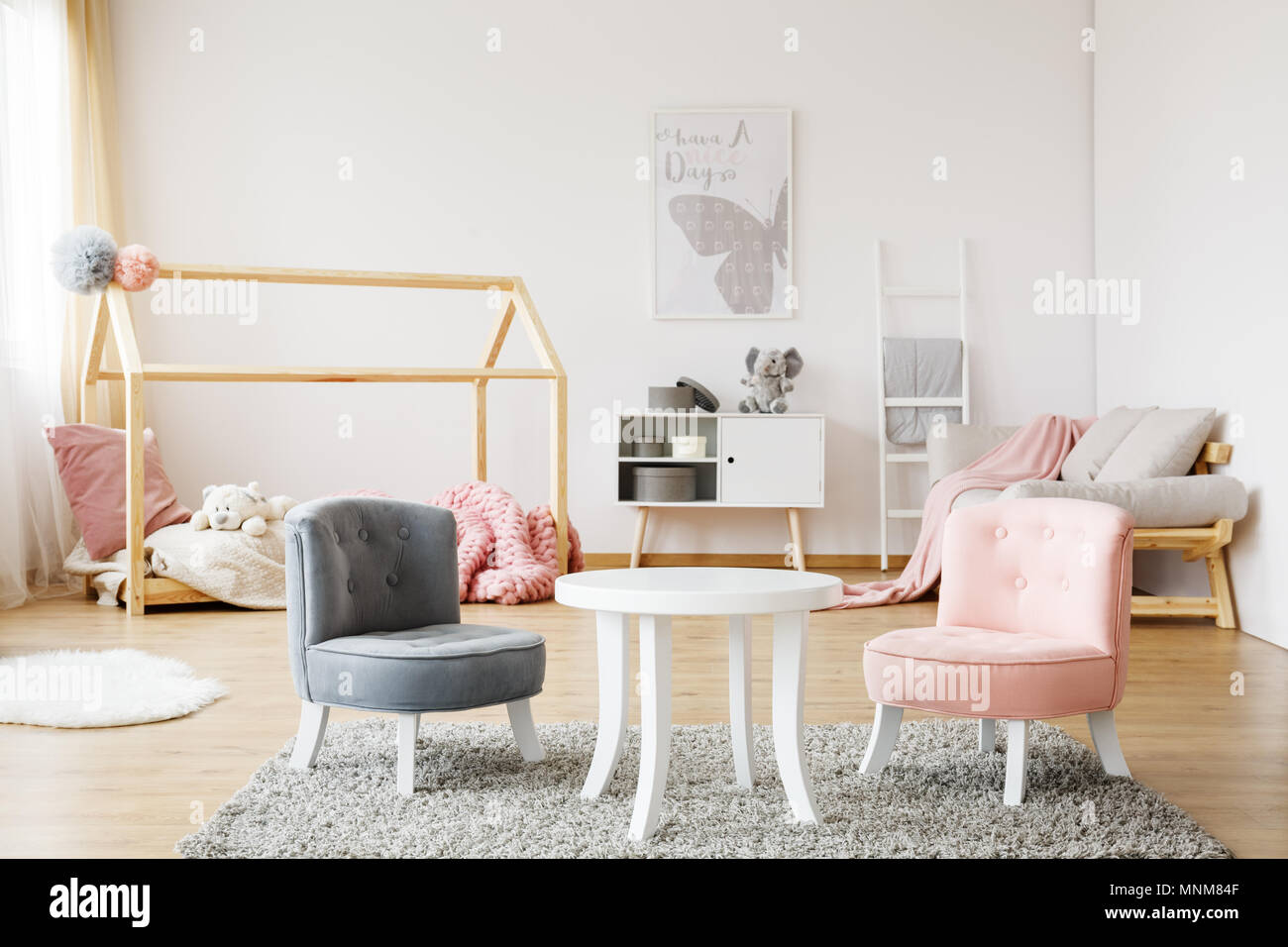chairs for baby room king and queen grey pink small cute standing on soft carpet in cozy