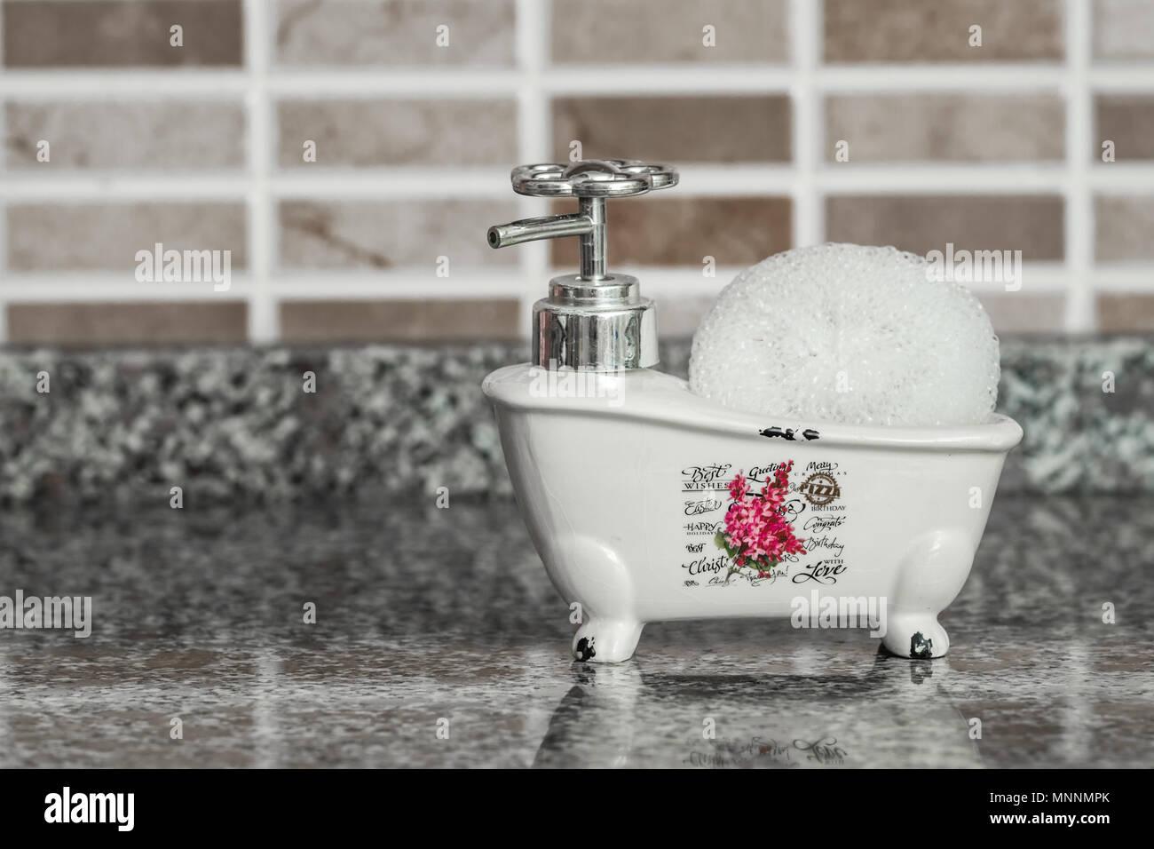 https www alamy com decorative ceramic mini claw foot bathtub soap dish with bath sponge image185488763 html
