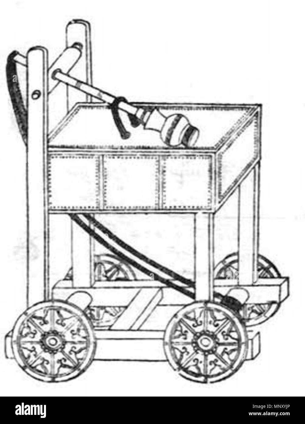 hight resolution of english illustration of a hinged counterweight trebuchet prepped for transit from the wujing zongyao