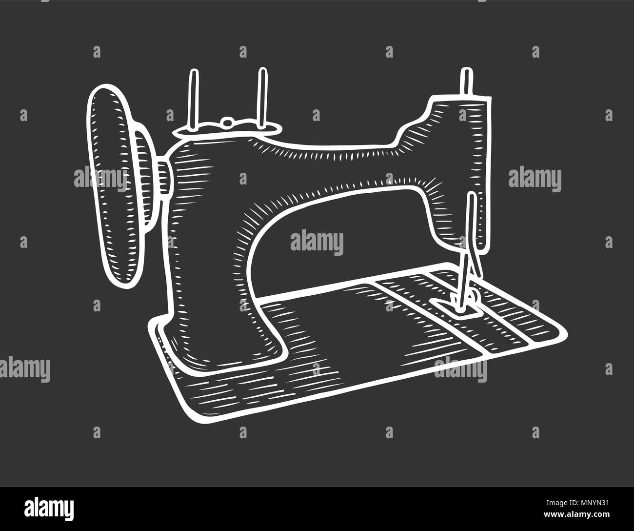 hight resolution of vector hand drawn of the vintage sewing machine isolated on black background in old