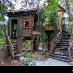 Fantasy Tree House For Children Playing Outdoors In The Garden Backyard Hobbit Hole Fantasy House On Trees Stock Photo Alamy