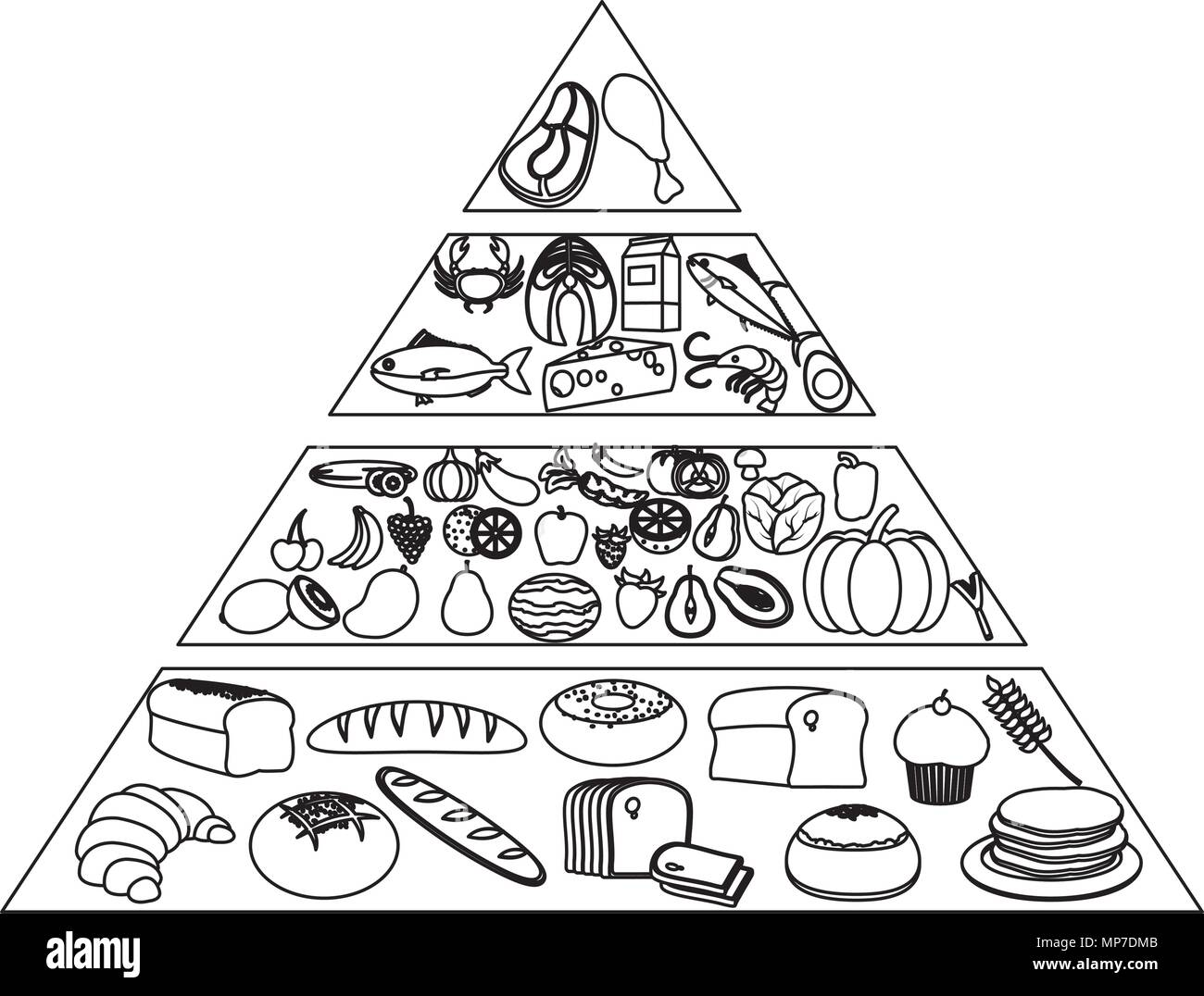 Line Nutritional Food Pyramidt Products Stock Vector