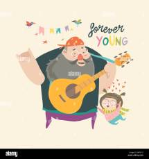 Vector Illustration Rock Girl Guitar Stock &